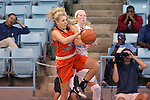 02 November 2016: Carson-Newman's Tori Griffin (left) and North Carolina's Taylor Koenen (right). The University of North Carolina Tar Heels hosted the Carson-Newman University Lady Eagles at Carmichael Arena in Chapel Hill, North Carolina in a 2016-17 NCAA Women's Basketball exhibition game. UNC won the game 96-70.