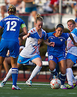 Chicago Red Stars defender/forward Michelle Wenino (13) and Boston Breakers defender Bianca D'Agostino (19) compete for a ball.  The Boston Breakers beat the Chicago Red Stars 1-0 at Dilboy Stadium.