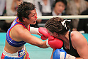 (L to R) Fujin Raika (JPN), Jelena Mrdjenovich (CAN), SEPTEMBER 22, 2011 - Boxing : Fujin Raika of japan hits Jelena Mrdjenovich during the WBC Female Super Feather weight final Elimmination bout at Korakuen, Tokyo, Japan. Jelena Mrdjenovich won the fight on points after ten rounds. (Photo by Yusuke Nakanishi/AFLO) [1090]