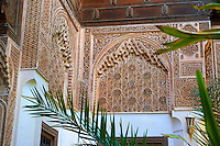 Berber arabesque Mocarabe and Muqarnas plasterwork.The Petite Court, Bahia Palace, Marrakesh, Morroco