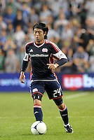 Lee Nguyen (24) New England midfielder in action... Sporting Kansas City defeated New England Revolution 3-0 at LIVESTRONG Sporting Park, Kansas City, Kansas.