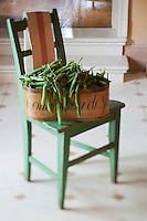 On a distressed wooden chair a vintage grocery box filled with freshly picked peas sits ready to be shelled for dinner