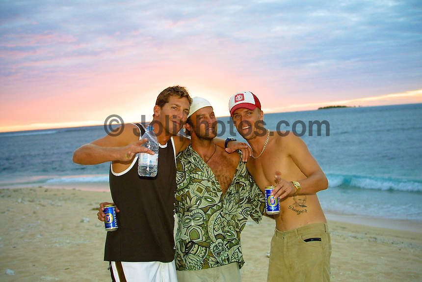 ANDY IRONS (HAWAII) with NATHAN HEDGE (AUS)  and CHRIS DAVIDSON (AUS) The Quiksilver Pro Fiji was won by current world surfing champion, Hawaiian Andy Irons. Florida surfer Cory Lopez finished runner up.Photo: joliphotos.com