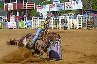 A woman participates in the annual Fourth of July Makawao Rodeo. Hawaii's largest rodeo, it is held in the upcountry town of Makawao. Maui's cowboy or paniolo town got it's start in the early 1800's as a support community for the upcountry cattle ranches.