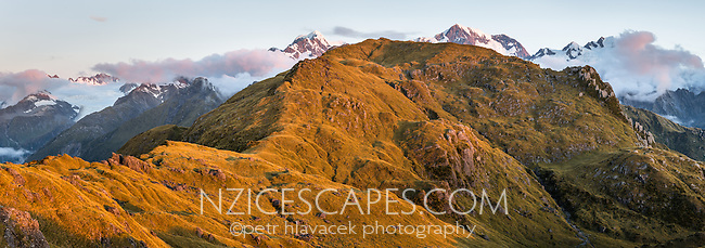 Sunset over Southern Alps with Mount Tasman and Aoraki, Mount Cook from Mt. Fox. Fox Glacier visible on left, Westland Tai Poutini National Park, West Coast, World Heritage Area, New Zealand, NZ