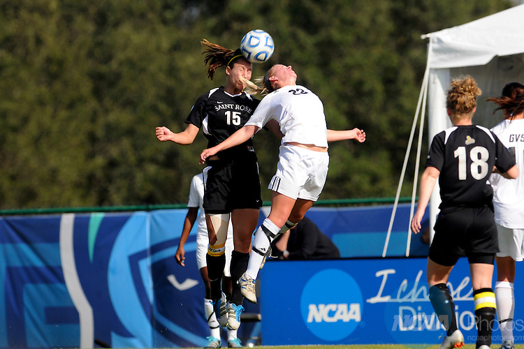 03 DEC 2011: Kimberly Morton (15) of Saint Rose Charlie Socia (23) of GVSU battle for the ball during the Division II Women's Soccer Championship held at the Ashton Brosnaham Soccer Complex in Pensacola, FL.  Saint Rose defeated Grand Valley State 2-1 to win the national title.  Stephen Nowland/NCAA Photos