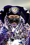 31 December 2006: Baltimore Ravens fan Steve LaPlanche, wearing over 40 pounds of good luck beads, cheers his team on during a game against the Buffalo Bills at M&amp;T Bank Stadium in Baltimore, Maryland. The Ravens defeated the Bills 19-7. Mandatory Photo Credit: Ed Wolfstein Photo.<br />