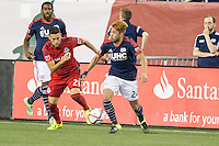 Foxborough, Massachusetts - August 1, 2015:  The New England Revolution (blue and white) beat  Toronto FC (red) 3-1 in a Major League Soccer (MLS) match at Gillette Stadium.
