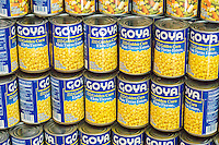 Goya brand corn canned goods in the 23rd annual Canstruction Design Competition in New York, seen on Friday, November 6, 2015, on display in Brookfield Place in Lower Manhattan. Architecture and design firm participate to design and build giant structures made from cans of food.  The cans are donated to City Harvest at the close of the exhibit. Over 100,000 cans of food were collected and will be used to feed the needy at 500 soup kitchens and food pantries. (© Richard B. Levine)