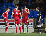 St Johnstone v Aberdeen.....07.12.13    SPFL<br /> Michael Hector holds his nose after being elbowed by Rory Fallon<br /> Picture by Graeme Hart.<br /> Copyright Perthshire Picture Agency<br /> Tel: 01738 623350  Mobile: 07990 594431