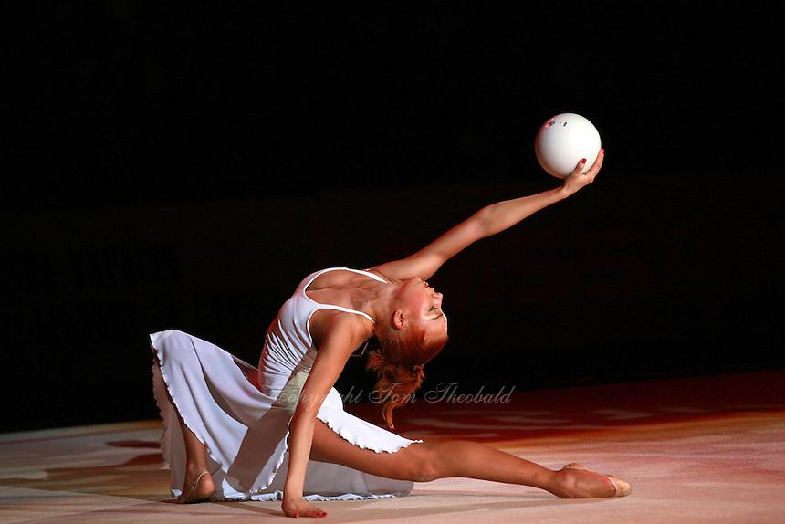 "Natalya Godunko of Ukraine performs gala exhibition routine with ball at 2007 World Cup Kiev, ""Deriugina Cup"" in Kiev, Ukraine on March 16, 2007."