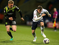 Bolton Wanderers' Andrew Taylor gets away from Bury's Taylor Moore<br /> <br /> Photographer Alex Dodd/CameraSport<br /> <br /> The EFL Sky Bet League One - Bolton Wanderers v Bury - Tuesday 18th April 2017 - Macron Stadium - Bolton<br /> <br /> World Copyright &copy; 2017 CameraSport. All rights reserved. 43 Linden Ave. Countesthorpe. Leicester. England. LE8 5PG - Tel: +44 (0) 116 277 4147 - admin@camerasport.com - www.camerasport.com