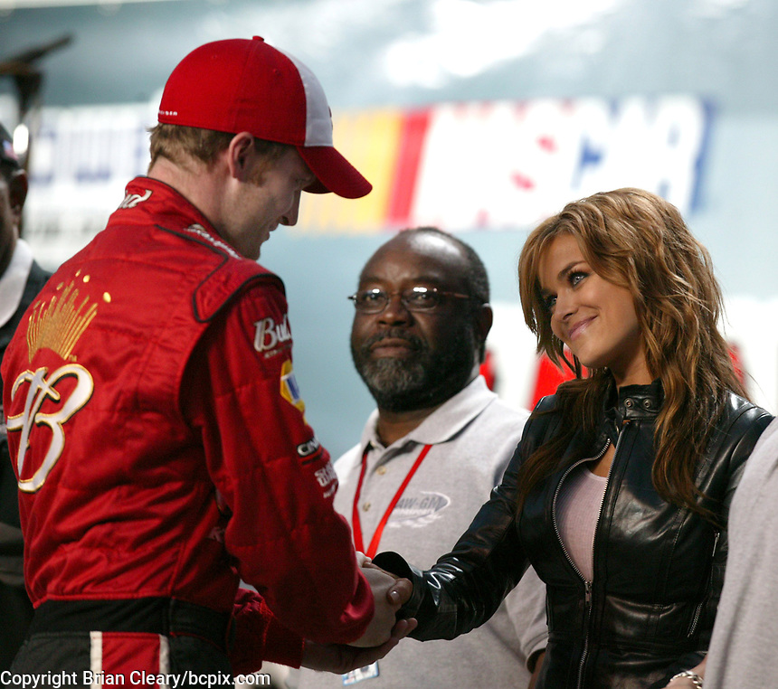 Dale Earnhardt Jr., Carmen Electra, UAW-GM Quality 500, Charlotte Motor Speedway, Charlotte, NC, October 11, 2003.  (Photo by Brian Cleary/bcpix.com)