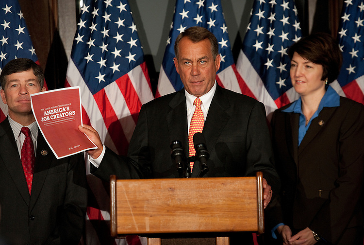 UNITED STATES - OCTOBER 12:  Speaker John Boehner, R-Ohio, conducts a news conference at the RNC after a meeting with the House Republican Caucus.  They discussed the failure of President Obama's job bill in the Senate among other matters related to job creation.  Republican Conference Chair Jeb Hensarling, R-Texas, and Vice Chair Cathy McMorris Rodgers, R-Wash., also appear.  (Photo By Tom Williams/Roll Call)