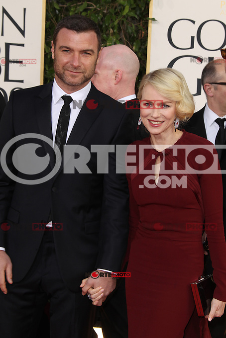 BEVERLY HILLS, CA - JANUARY 13: Liev Schreiber and Naomi Watts at the 70th Annual Golden Globe Awards at the Beverly Hills Hilton Hotel in Beverly Hills, California. January 13, 2013. Credit: mpi29/MediaPunch Inc. /NortePhoto