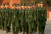 Guards marching outside the walls of the Forbiden City, beijing