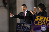 Democratic presidential candidate Barack Obama and his wife, Michelle, greet fans during a rally held on the night of the Texas primary election, March 4, 2008, in front of the Municipal Auditorium building in San Antonio, Texas. (Darren Abate/PressPhotoIntl.com)