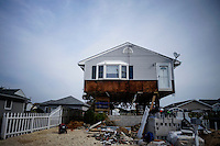 A house is seen under reconstruction while NJ's governor Chris Christie visited the Jersey shore's reconstruction, marking the second anniversary of Sandy storm in New Jersey. 10.29.2014. Eduardo MunozAlvarez/VIEWpress