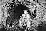 A devil god statue, to which miners make offerings of alcohol and cigarettes, stands in a tunnel of a silver mine in Potosi, Bolivia.