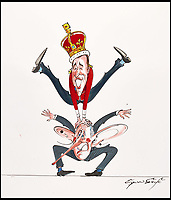 BNPS.co.uk (01202 558833)<br /> Pic: Sothebys/BNPS<br /> <br /> 'Leapfrog' - Prince Charles and Prince William.<br /> <br /> A collection of more than 130 drawings by one of Britain's most celebrated cartoonists has emerged for auction and are tipped to sell for &pound;850,000.<br /> <br /> The collection of Gerald Scarfe - who has worked as a cartoonist for the Sunday Times for 44 years - includes satirical portraits of leading political figures from Winston Churchill to Theresa May, as well as examples of his work on Disney film Hercules and Pink Floyd's animation film The Wall.<br /> <br /> While many of the drawings included in the auction have been published, a number of works included in the sale are unseen.<br /> <br /> Those who have been immortalised in his cartoons include Donald Trump, Barack Obama, George Bush, David Cameron, Tony Blair, Margaret Thatcher, Boris Johnson, Nigel Farage, George Osborne and Jeremy Corbyn.