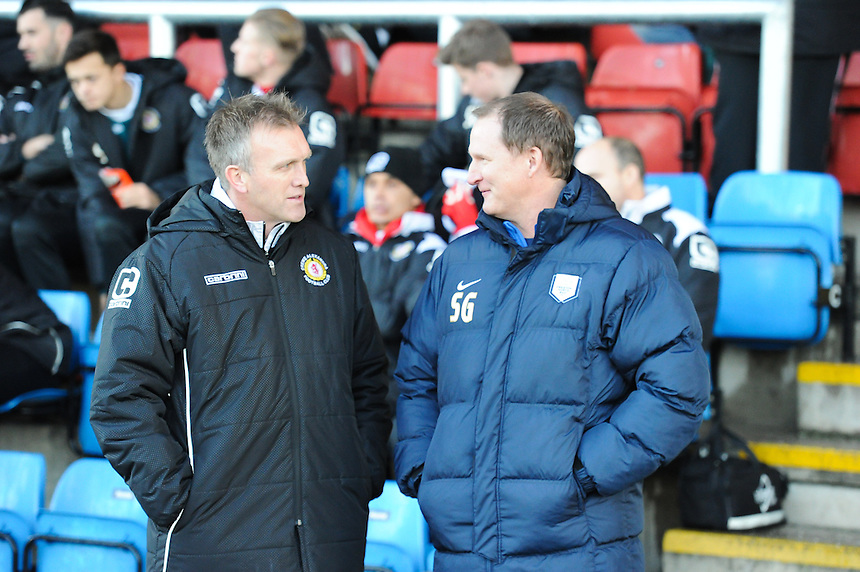 Crewe Alexandra manager Steve Davis and Preston North End manager Simon Grayson chat before todays game<br /> <br /> Photographer Craig Thomas/CameraSport<br /> <br /> Football - The Football League Sky Bet League One - Crewe Alexandra v Preston North End - Sunday 28th December 2014 - Alexandra Stadium - Crewe<br /> <br /> &copy; CameraSport - 43 Linden Ave. Countesthorpe. Leicester. England. LE8 5PG - Tel: +44 (0) 116 277 4147 - admin@camerasport.com - www.camerasport.com