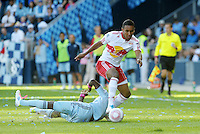 Red Bulls Juan Agudelo (17) goes past Julio Cesar Sporting KC...Sporting Kansas City defeated New York Red Bulls 2-0 at LIVESTRONG Sporting Park, Kansas City, Kansas.