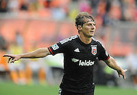 Washington D.C. - May 17, 2014:  Chris Rolfe (18) of D.C. United celebrates his score in the 28th minute of the game. D.C. United defeated  the Houston Dynamo 2-0 during a Major League Soccer match for the 2014 season at RFK Stadium.