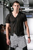 Model walks the runway in an outfit by Marie Morile, from the Denim by Marie Morile Spring Summer 2012 fashion show, during BK Fashion Weekend Spring Summer 2012.