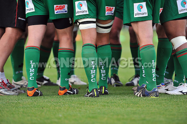 A general view of London Irish player socks during the pre-match warm-up. Pre-season friendly match, between London Irish and Bristol Rugby on August 22, 2014 at Hazelwood in Middlesex, England. Photo by: Patrick Khachfe / JMP