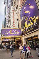 "The musical ""Aladdin"" by Disney at the New Amsterdam Theatre in the Theater District in New York on Tuesday, April 1, 2014. Twenty years ago Disney debuted its first musical in Times Square, ""Beauty and the Beast"", and since that time 28 million people have seen numerous Disney Theatrical Productions musicals on Broadway. Disney investments in the theaters were one of the elements that was part of the resurgence of Times Square turning it from a seedy, crime-infested landscape to the tourist-friendly entertainment district that it is now.  (© Richard B. Levine)"