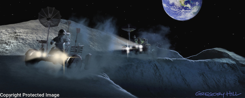 Astronauts fire up 2 lunar rovers and race across the surface of the Moon.