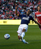 Chivas defender Michael Umana (4) clears the ball.  The Chicago Fire tied Chivas USA 1-1 at Toyota Park in Bridgeview, IL on May 1, 2010.