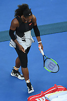 January 28, 2017: Serena Williams of United States of America smashes her racquet in the Women's Final match against Venus Williams of United States of America on day 13 of the 2017 Australian Open Grand Slam tennis tournament in Melbourne, Australia. Photo Sydney Low