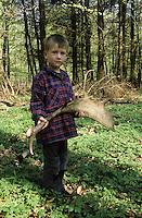 Damhirsch, Junge, Kind hat Abwurfstange, Geweih nach Abwurf im Wald gefunden, Dam-Hirsch, Damwild, Hirsch, Männchen, Dam-Wild, Cervus dama, Dama dama, fallow deer