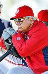 24 February 2012: Washington Nationals' Spring Training Instructor Pat Corrales watches batting practice at the Carl Barger Baseball Complex in Viera, Florida. Mandatory Credit: Ed Wolfstein Photo