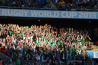 A general view of Ireland supporters in the crowd during a mexican wave. Rugby World Cup Pool D match between Ireland and Romania on September 27, 2015 at Wembley Stadium in London, England. Photo by: Patrick Khachfe / Onside Images