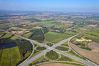 Autobahnkreuz Rendsburg: DEUTSCHLAND, SCHLESWIG HOLSTEIN,  06.09.2013: Das Autobahnkreuz Rendsburg, AK Rendsburg; Kreuz Rendsburg ist ein Autobahnkreuz bei Rendsburg in Schleswig-Holstein. Hier kreuzen sich die Bundesautobahn 210 (Rendsburg — Kiel) und die Bundesautobahn 7