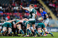 Jono Kitto of Leicester Tigers at a scrum. Aviva Premiership match, between Leicester Tigers and Saracens on March 20, 2016 at Welford Road in Leicester, England. Photo by: Patrick Khachfe / JMP