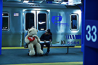 Two girls share a moment during Valentine's Day at the path station, in New York, Feb 14, 2014. VIEWpress/Eduardo Munoz Alvarez