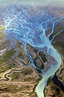 Aerial view of a braided and meandering river system, Alaska, USA