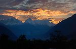 Golden sunrise, back lighting snow capped mountain. Imst district, Tyrol,Tirol, Austria.