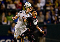 DC United midfielder Andy Najar and LA Galaxy defenders Todd Dunivant battle in the air. The LA Galaxy defeated DC United 2-1at Home Depot Center stadium in Carson, California on Saturday September 18, 2010.