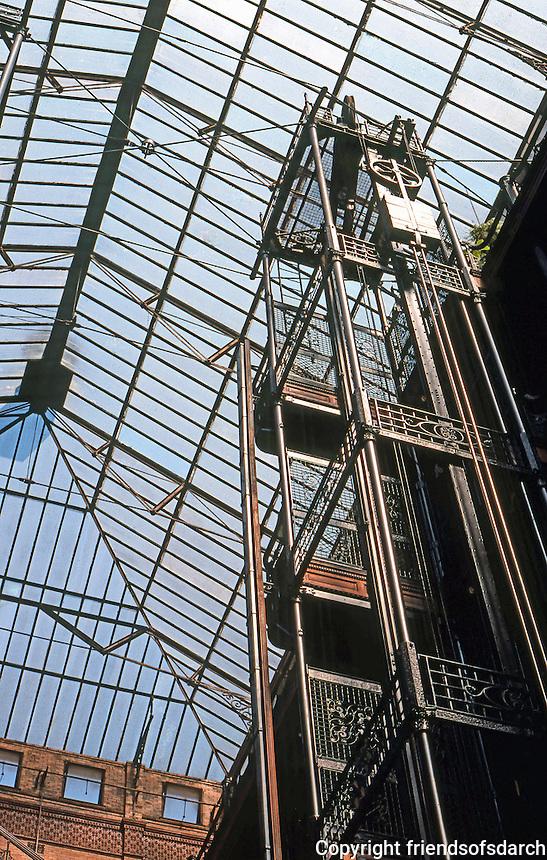 Los Angeles: Bradbury Building, Los Angeles--Elevator.  Skylight. Photo '78.