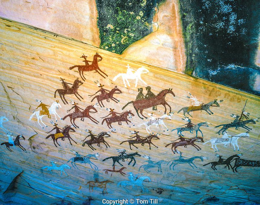 Navajo pictograph of horses and riders, Navajo Reservation,  Arizona