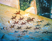 Navajo pictograph of horses and riders, Navajo Reservation,  Arizona