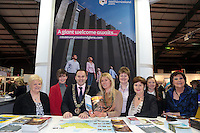 NO FEE PICTURES.25/1/13 Maureen Ledwith, Director Holiday World, Lord Mayor of Dublin is Naoise Ó Muirí and Clare Dunne, President ITAA with Mary O'Neill, Lisa Robinson, Beth Swindlehurst, Anne Donaghy and Fiona Cunningham with at the Holiday World Show at the RDS, Dublin. Picture:Arthur Carron/Collins