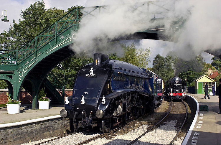The 'Sir Nigel Gresley' A4 Pacific steam engine at Pickering Railway Station in Yorkshire, UK