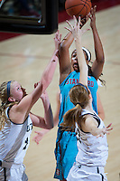 STANFORD, CA - December 4, 2016: Erica McCall at Maples Pavilion. Stanford defeated UC Davis, 68-42. The Cardinal wore turquoise uniforms to honor Native American Heritage Month