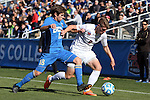14 December 2014: UCLA's Brian Iloski (18) and Virginia's Scott Thomsen (6). The University of Virginia Cavaliers played the University of California Los Angeles Bruins at WakeMed Stadium in Cary, North Carolina in the 2014 NCAA Division I Men's College Cup championship match.