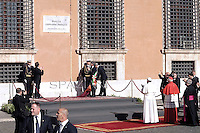 Pope Francis Opening Square dedicated to Pope John Paul II .Pope Francis celebrates a mass,in the Rome's basilica of St. John Lateran, the official seat of the bishop of Rome, and presides over a ceremony in which he formally takes possession of the church. on April 7, 2013